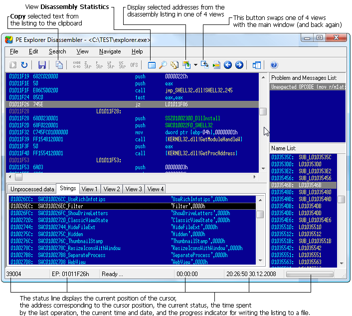 The main Disassembler window