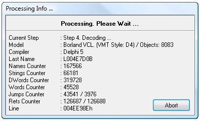Processing Info window