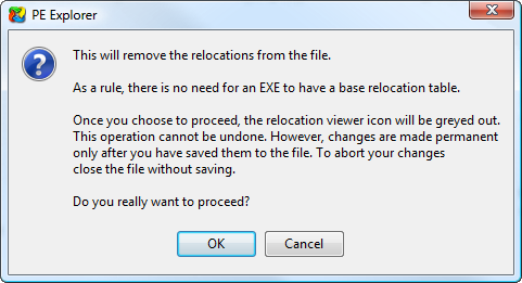 Remove Relocations tool